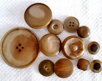 Vintage Tan Plastic Buttons Assorted Lot of 12 Buttons