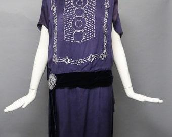 20s ART DECO dusty purple & white beaded silk draped Gatsby era flapper DRESS gown vintage 1920s