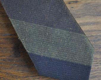 Mid century skinny tie black brown striped 1960s 60s