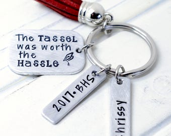Personalized Graduation Keychain, Class of 2017, Graduation Gift, HandStamped Keychain, Gift for Her, Gift for Him, High School Grad Gift