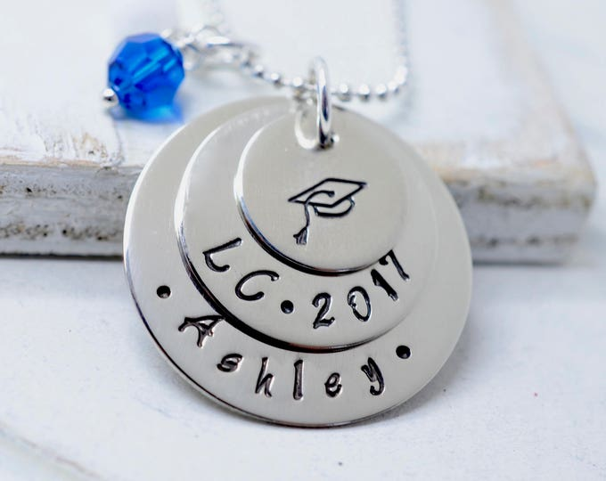 Graduation Necklace, Personalized Senior Necklace, Class of 2014, High School, College, Gift, Graduation Cap Necklace, Hand Stamped Jewelry
