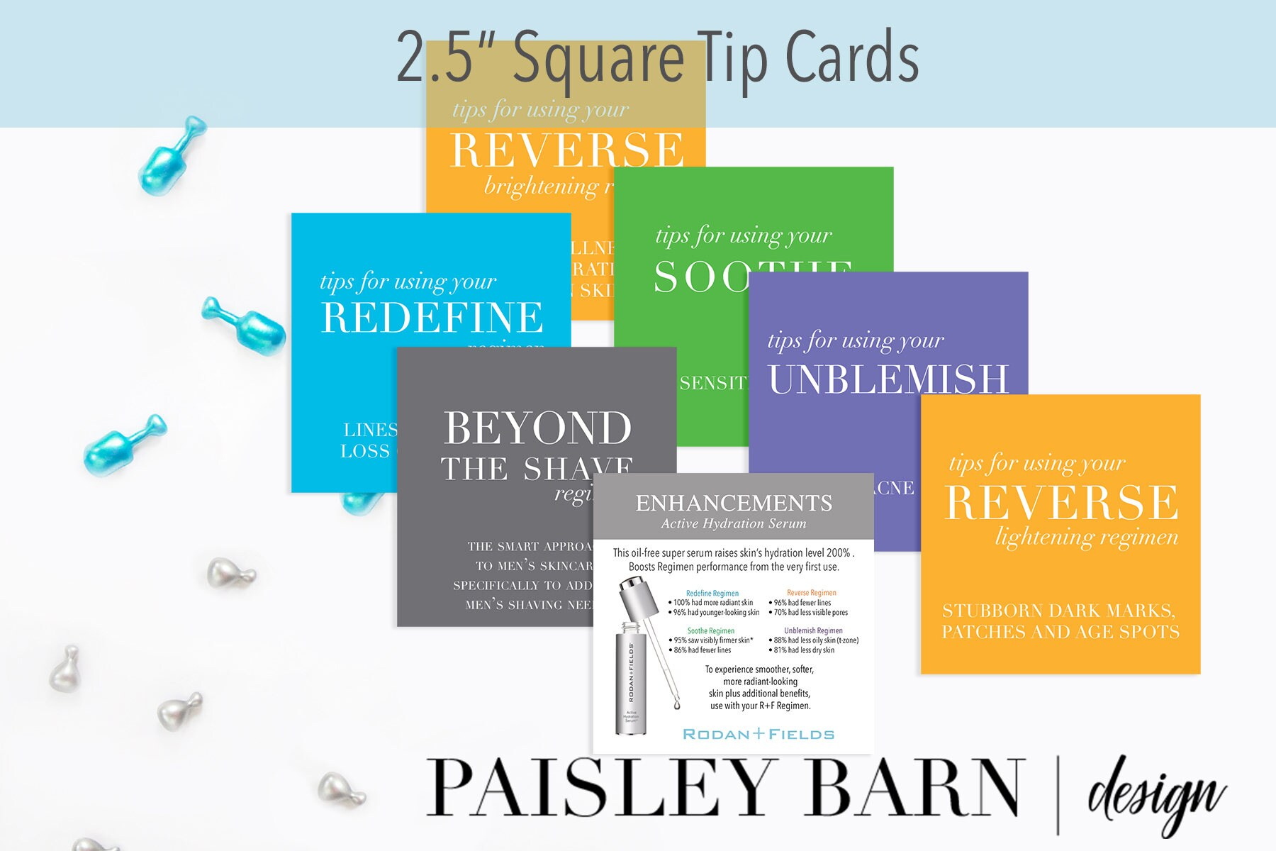 25 Square Tip Cards mini facial RodanFields travel