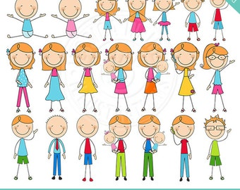 AUBURN We are Family Stick Figures Cute Digital Clipart, Stick Figure Family Clip art, Stick Figure People, Stick Figure Graphics, Red Hair