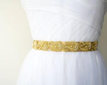 Gold Bridal Sash, Gold Swirl Sash, Beaded Sash