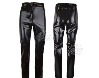 Men's latex rubber jeans trousers