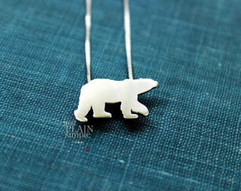 Tiny Polar Bear necklace, sterling silver, handmade wildlife pendant, antarctic ice animal, every day wear,