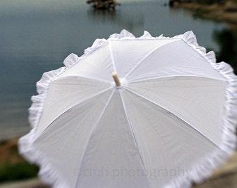 Stormy Landscape White Parasol Umbrella by Lake - 5 x 7 Fine Art Print