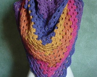 Funfetti Granny Stitch Shawl Shoulder Wrap, Crocheted in Caron Cakes Acrylic Wool Blend