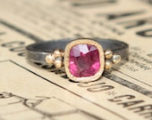 1.45 ct Natural Pinkish Red Ruby Oxidized Sterling Silver And 18K Gold Ring SZ 7