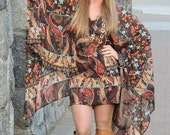 40% OFF Stevie Nicks Hippie Dress Bohemian Dress Chiffon Dress Paisley Dress Butterfly Sleeve Dress Tunic Dress Sheer Dress Floral Pink Dres