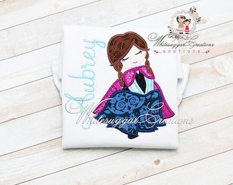 Girls Princess Shirt - Princess Anna Shirt - Custom Snow Princess Monogram Shirt - Baby Girl Princess Outfit