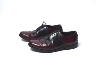 Black and Cordovan Saddle Shoes by Dexter / Women's Size 8 M / Oxford Saddle Shoes