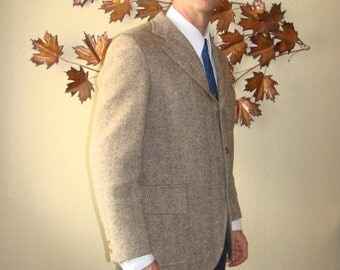 Mid Century Brown Tweed Wool Single breasted  notched Lapel Cable Car Clothiers Sport Coat Jacket Union Late 50's into 70's USA made
