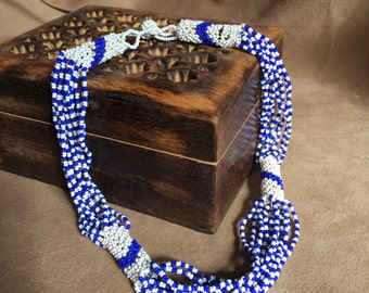 Vintage Beaded Necklace, Blue and White Necklace, Seed Beads, Native American, Boho, Ethnic Look