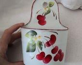Vintage Metal Wall Pocket with Hand Painted Cherries