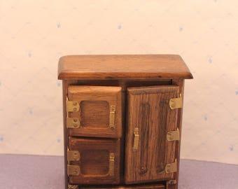 Dollhouse Ice Box Refrigerator Antique Style Miniature Kitchen Shackman