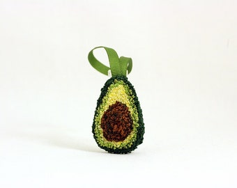 Avocado Christmas Ornament. Punchneedle. Food Art. Dark Green, Light Green, Light Green Ribbon.