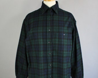 Vintage 90s Women's Pendleton Wool Navy Green Plaid Tartan Fall Winter Rustic Cabin Long Sleeve Outdoor Shirt