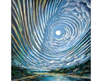 """Moonlight Over Waimea Bay Oahu Hawaii 8"""" x 10"""" art print artbydennis"""