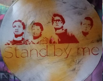 SALE Free US Shipping Stand by Me movie fan art upcycled vinyl record painting street art spray paint original stencil