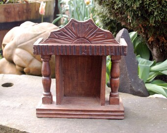 Beautiful Simple Primitive Dark Carved Wood Niche Altar Hanging Wood Shrine ~ Sacred Space ~ Icon ~ Holy Shrine ~ Carved Wooden Shrine