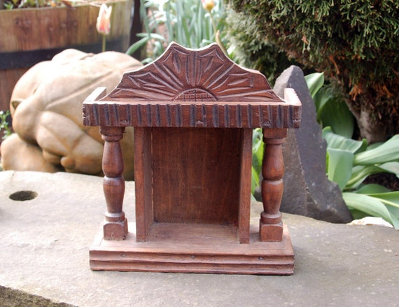 Beautiful Rustic Primitive Dark Carved Wood Niche Altar Hanging Wood Shrine ~ Sacred Space ~ Icon ~ Holy Shrine ~ Carved Wooden Shrine