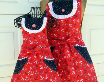 Mother Daughter Matching Aprons Reversible Aprons Red White and Blue