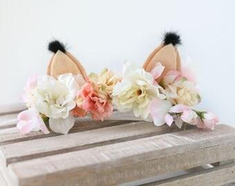 Sly Little Fox -- ivory neutral blush fox ear flower crown headband halo prop