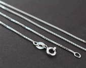 Box Chain Necklace 925 Sterling Silver Necklace 1mm 14 16 18 20 22 24 inches