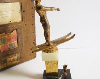 Vintage Water skier trophy topper Gold brass metal Ski skiing  sports prop display trophy cup Supplies