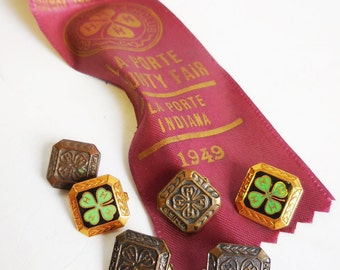 Vintage Ribbon with trophy Pins 4H 1949 Herdsman County Fair w/ 6 pins