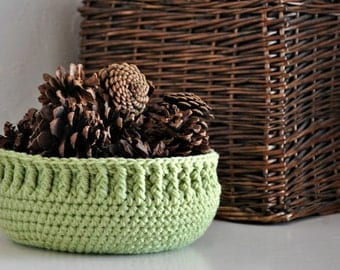 Green Bowl Ribbed Basket Catchall Storage Bin Modern Decor Rustic Home Decor