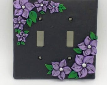 Violet Flower Switchplate; Purple Plumeria; Lavender Floral Double Light Switch Cover; Polymer Clay Switch Plate; Style #:VIF02