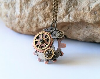 Steampunk Clockwork Necklace - Small