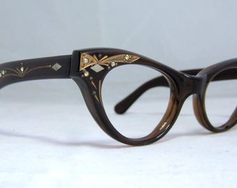 Vintage 60s Cat Eye Glasses. Tortoise and Gold with Rhinestones