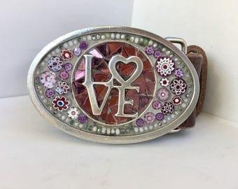 Beaded Buckle, Belts for Women, Leather Belt, Mosaic Buckles, Womens Belts, Gift for Girlfriend, Western Buckle, Embellished Belt Buckle