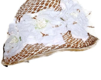 Chanda Vintage Hat Woven Straw Floral Kentucky Derby Boater
