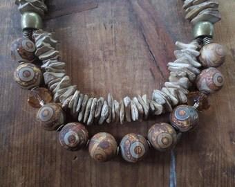 Tibetan Necklace, Tibetan Beads, Natural Necklace, Linen Necklace, Tibetan Jewelry, Chunky Necklace, Tibetan Agate Beads, Boho Necklace