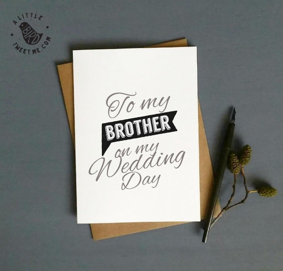 Wedding Thank You Gift For Brother : Wedding Thank you Cards. To my brother on my wedding day card. Wedding ...