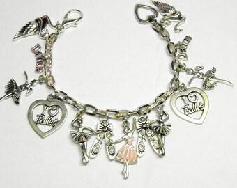 Ballerina Bracelet, Silver Ballet Jewelry, Swan Lake Bracelet, Swan Lake Jewelry, Dance Bracelet, Dance Jewelry, Charm Bracelet,  OOAK #3