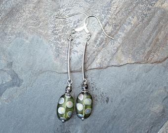 Green Polka Dot Earrings, Dangly Earrings, Long Earrings, Green Earrings, Glass Earrings, Stick Earrings, Handmade Earrings, Modern Earrings