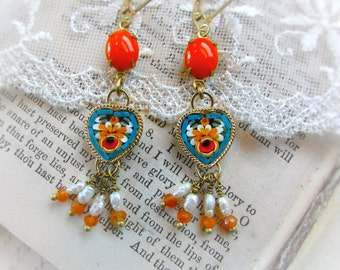 Roman Sunshine,Vintage Micro Mosaic Hearts,Pearl Carnelian Tassels,Aqua,Yellow & Orange Glass Assemblage Earrings by Hollywood Hillbilly