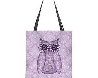 Purple Owl Tote Bag, lavender tote