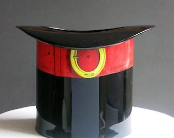 Vintage Piero Fornasetti Wastepaper Basket - Top Hat Office Decor - Mid Century Modern Italian 1950s - Wastebasket Bin Black Red Mens