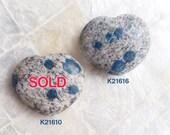 K2 Stone Heart   Orbicular Azurite in Granite   Polished Heart Specimen Pocket Stone  
