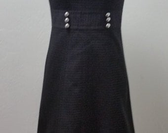 Vintage Toni Todd Short Sleeve Day Dress, Black, Small, 32/34 Bust, #63327