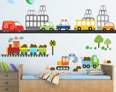 Transportation Train Decal,  Reusable Decal Non-toxic Fabric Wall Decals for Kids, WD96