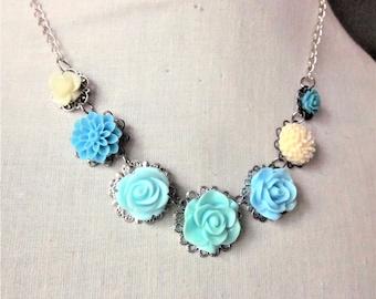 Handmade Aqua Flower Necklace Aqua Rose Necklace Aqua Bib Necklace Aqua Flower Bib Aqua Wedding Aqua Bridesmaids Aqua Blue Flower Necklace
