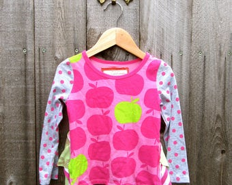 Upcycled Girls Top Tshirt Shirt Recycled Clothes Redesigned Upcycled Clothing Tshirt Sz T2  Gr. 92 Apple Print Striped Polka Dot Bustle Top