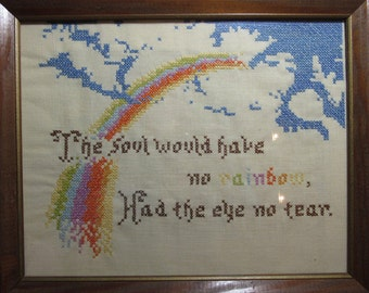 MILESTONE SALE 40% OFF with Coupon, Vintage Embroidered Framed Picture, Rainbows